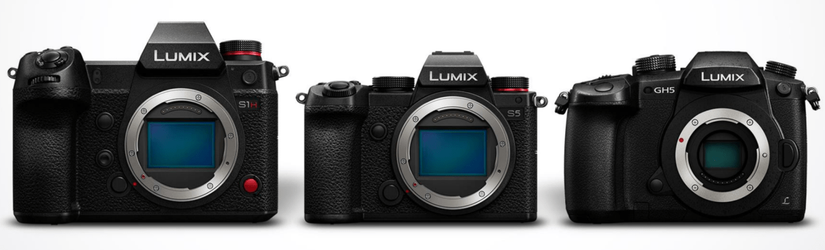 De gauche à droite, le Panasonic Lumix S1H, le Panasonic Lumix S5 et le Panasonic Lumix GH5