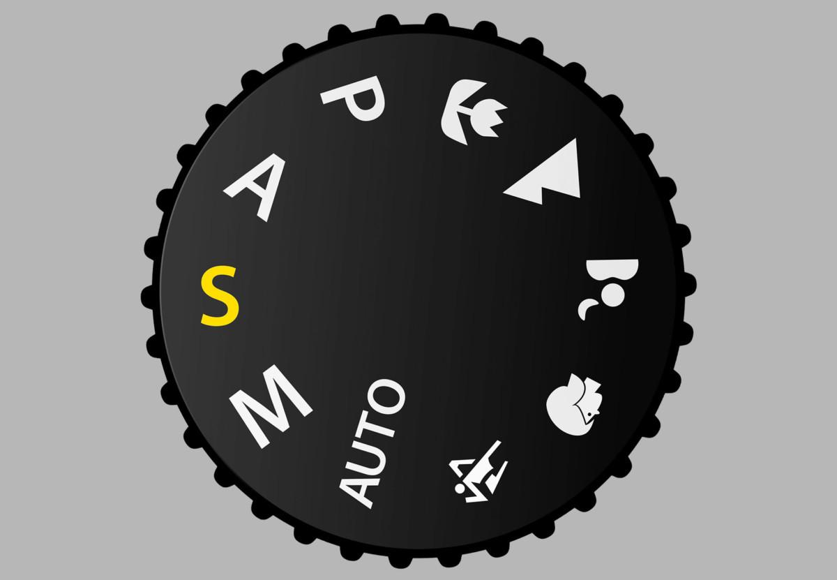 Le mode vitesse (S) sur la molette des modes