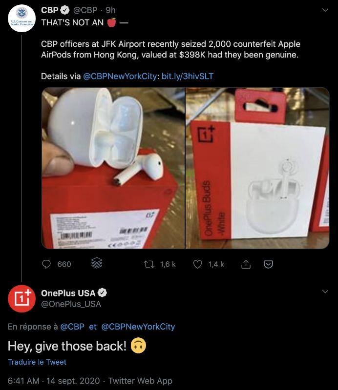 Pris pour des copies d'AirPods, 2 000 OnePlus Buds sont saisis par la douane américaine
