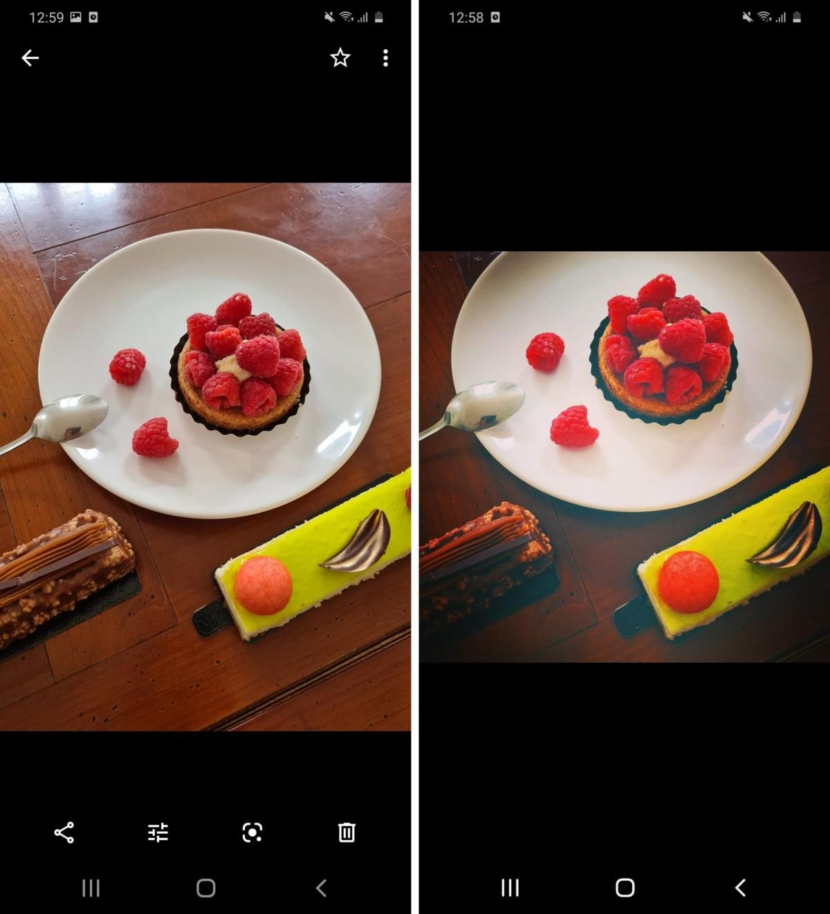 À gauche la photo avant retouche, à droite la photo après retouche sur Instagram.