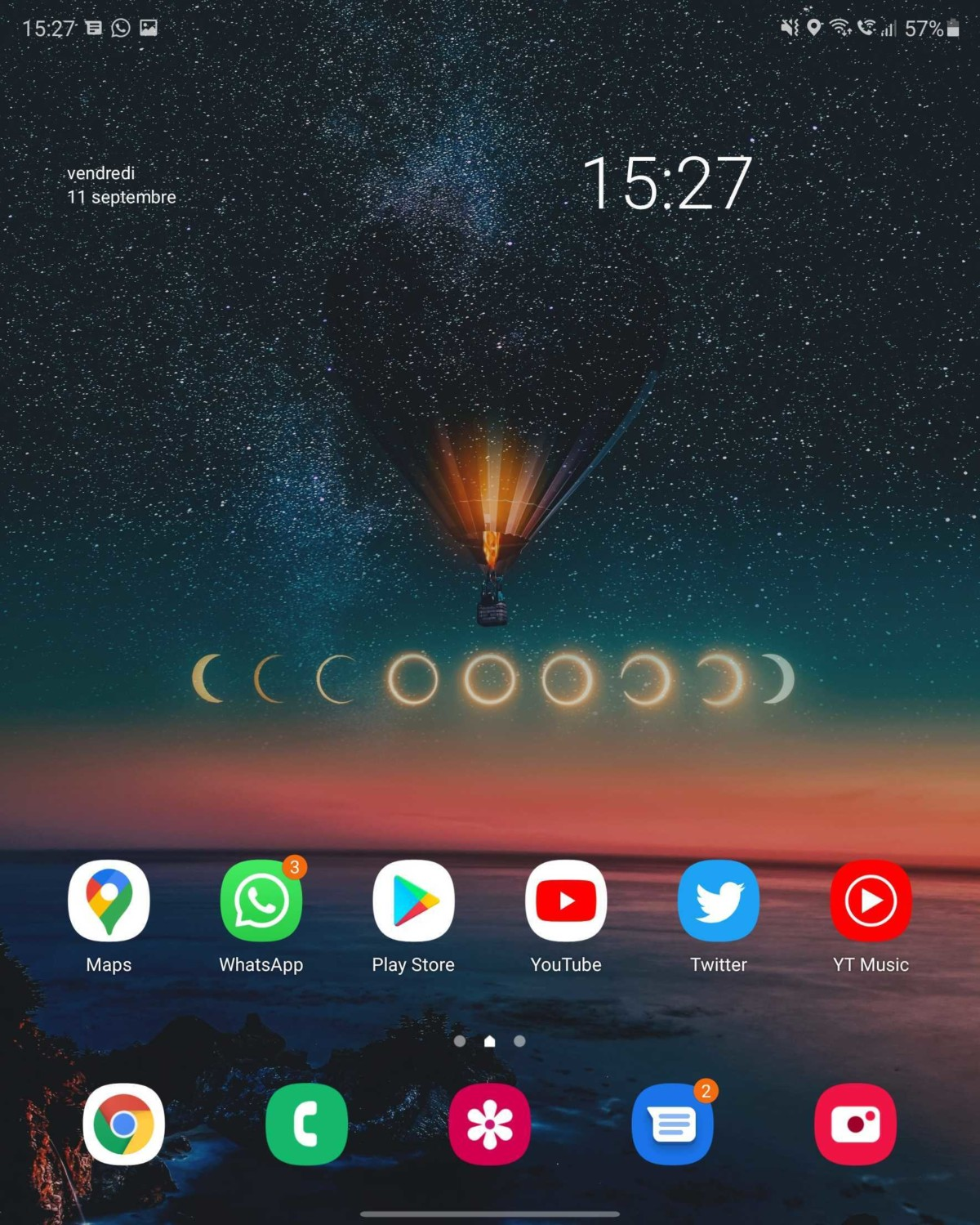 Écran d'accueil Samsung Galaxy Z Fold 2