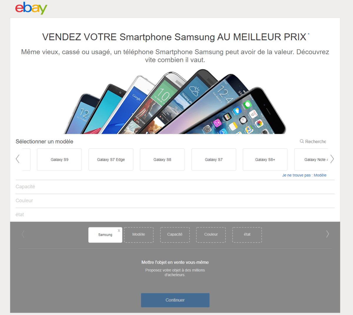 L'interface de vente de smartphone d'eBay permet d'entrer rapidement et facilement les informations techniques du téléphone à vendre.
