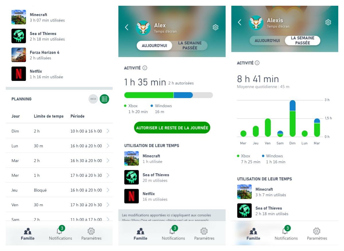 La gestion du temps d'écran de l'enfant sur l'app Family Settings