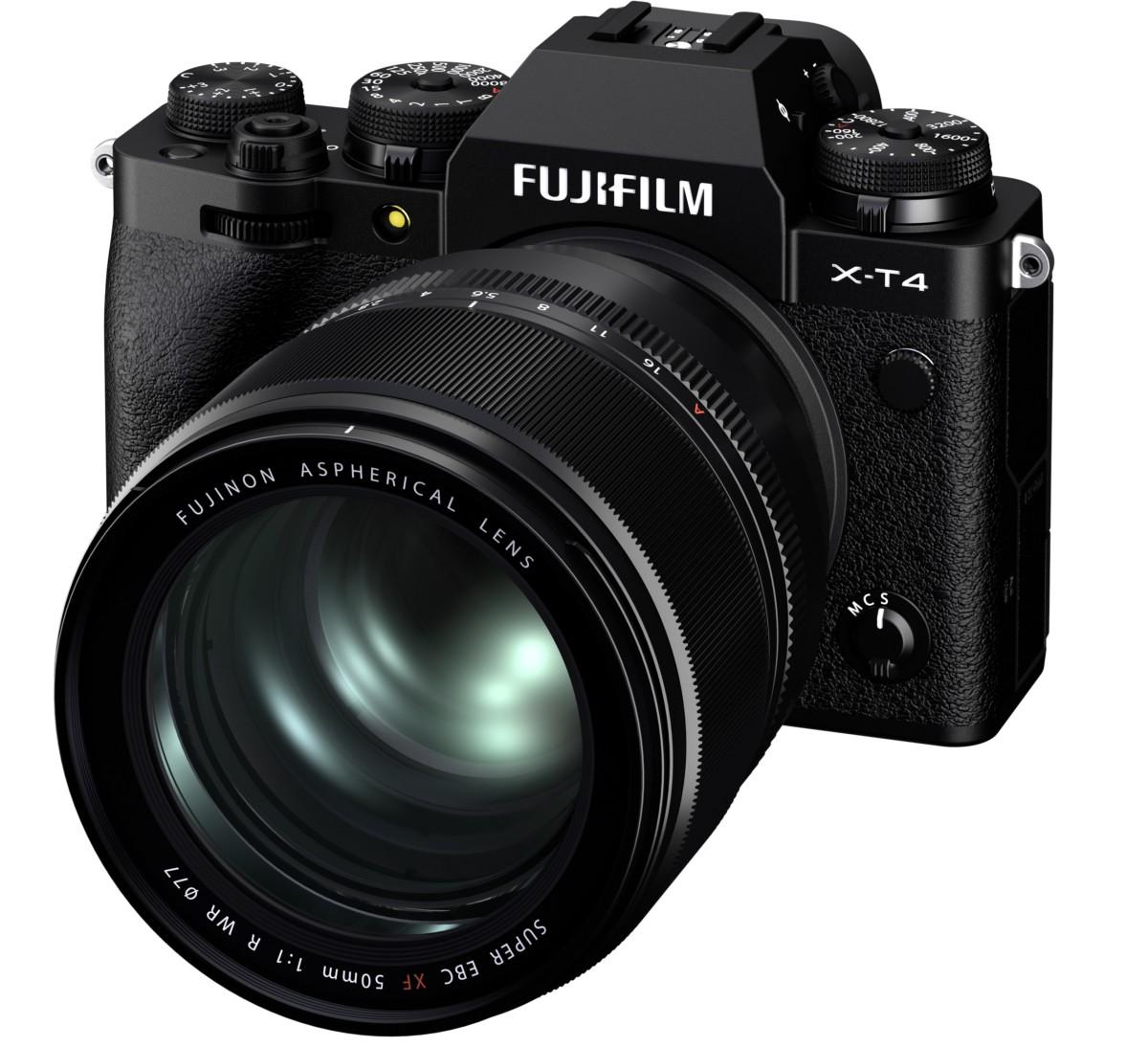 Le XF50mmF1.0 R WR monté sur l'appareil photo numérique hybride X-T4