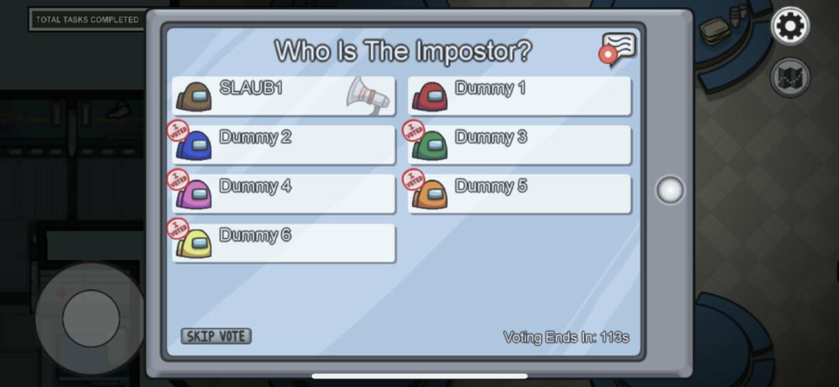 Lors des réunions, vous devez voter pour le joueur qui selon vous est l'imposteur