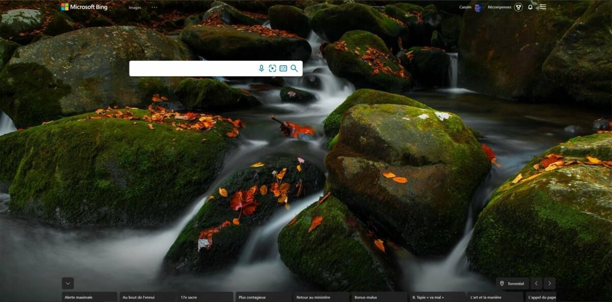 Le fond d'écran du jour sur Bing
