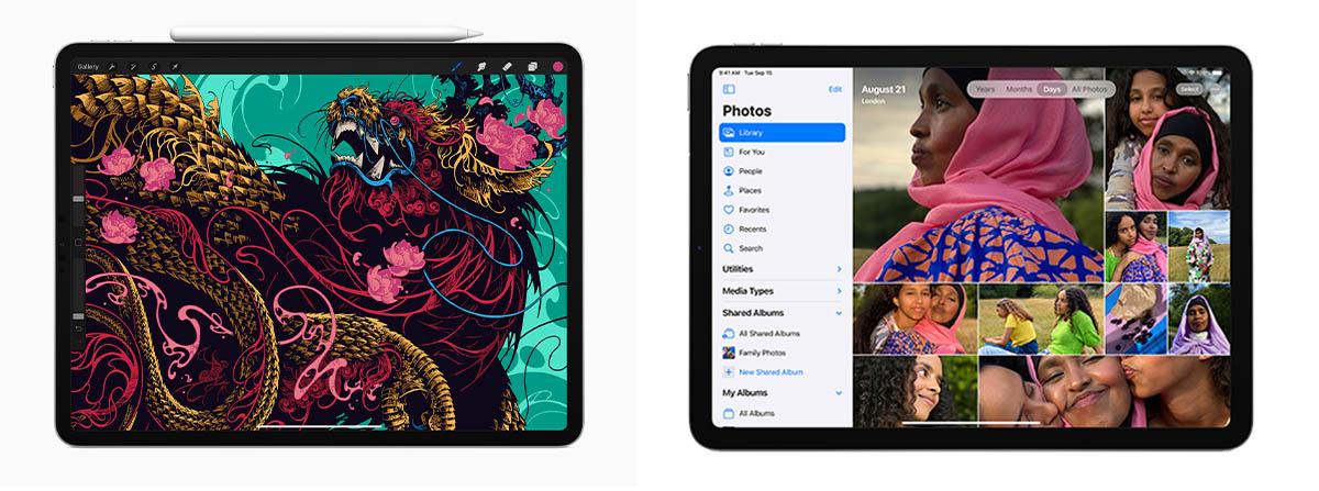 De gauche à droite: l'iPad Pro 11pouces et l'iPad Air