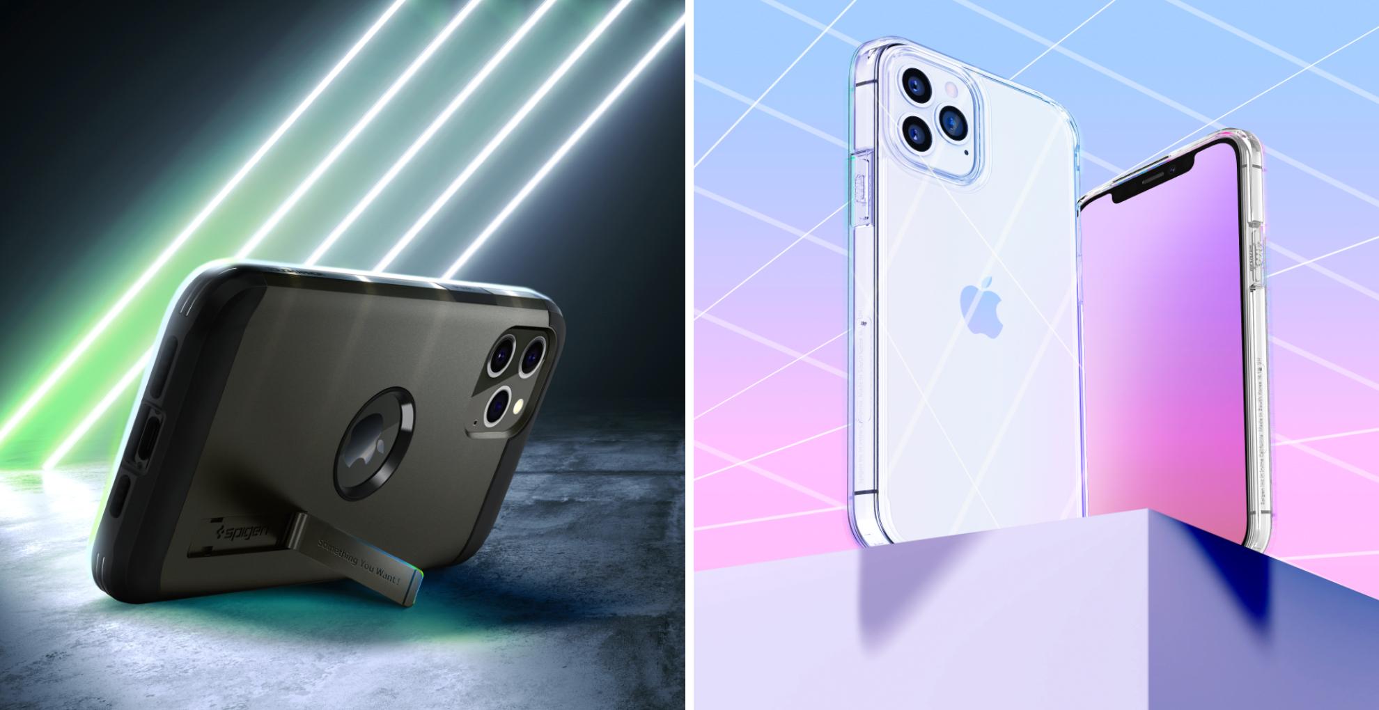 À gauche la coque Spigen Tough Armor pour l'iPhone 12. À droite la coque Spigen Ultra Hybrid transparente.