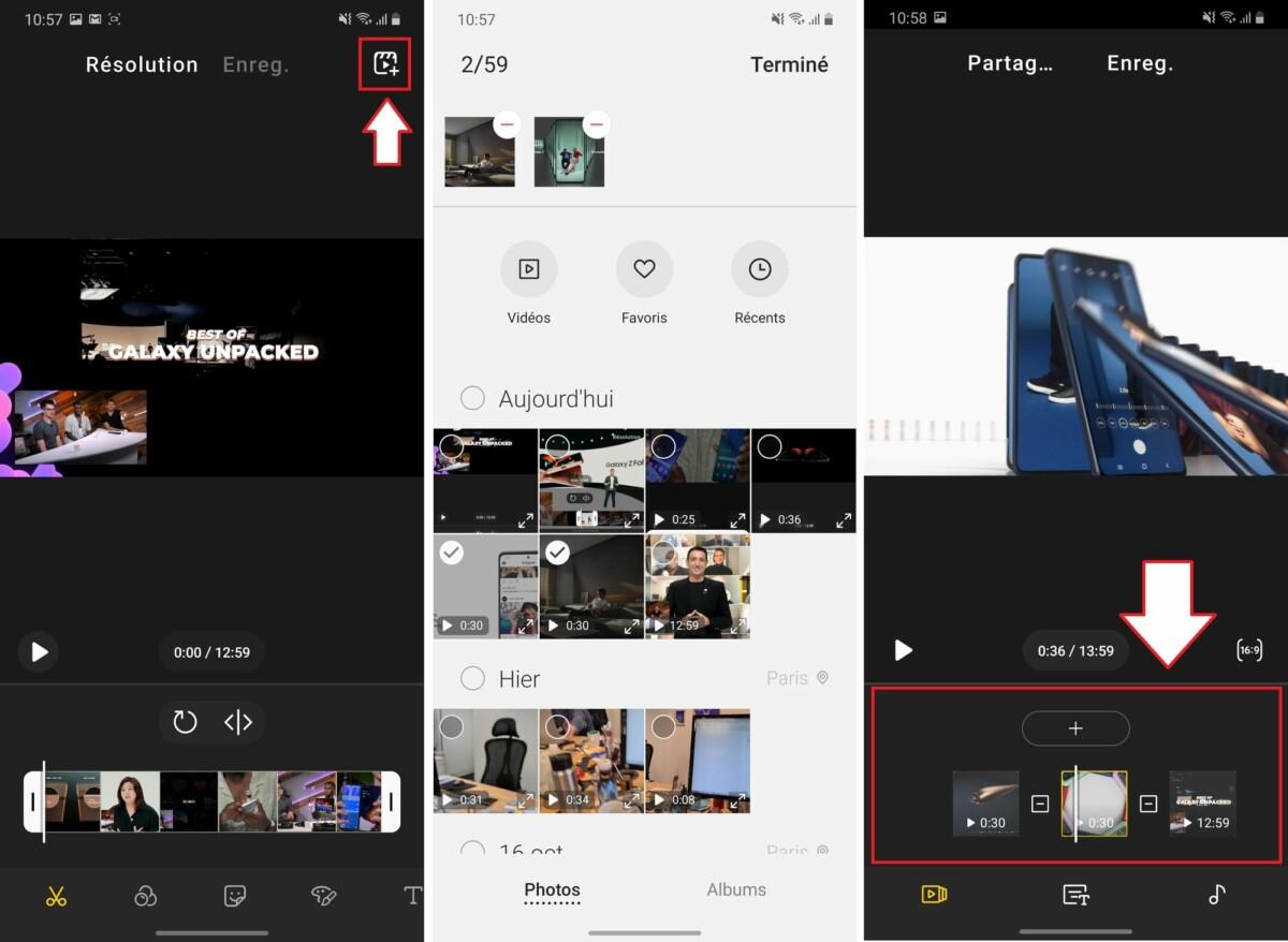 Pour fusionner des vidéos, il faut commencer par éditer une vidéo en particulier, puis aller en chercher d'autres avec l'icône en forme de clap. Une fois les vidéos ajoutées dans le projet, il est possible de choisir leur ordre d'apparition et de les éditer une par une.