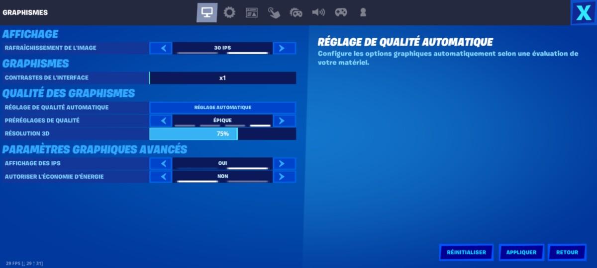 Le menu d'options graphiques de Fortnite sur OnePlus 8T