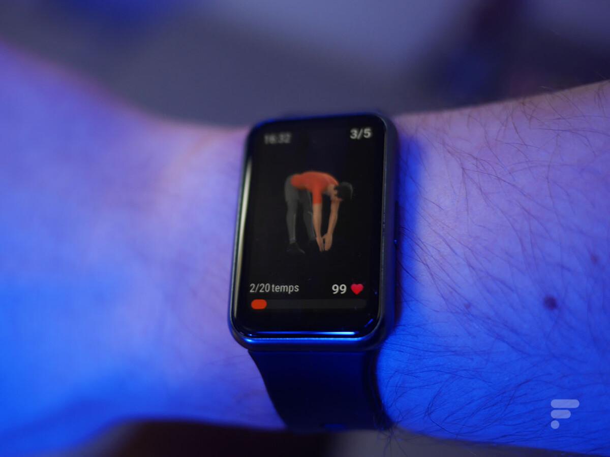 La Huawei Watch Fit affiche des animations pour les exercices