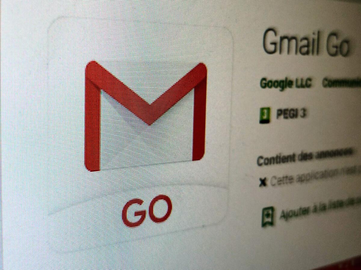 L'application Gmail Go sur le Play Store