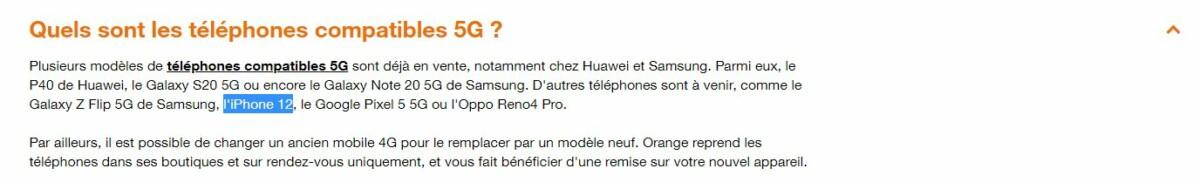 Orange évoque l'iPhone 12