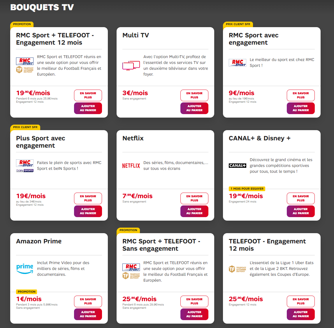 TV options that can be purchased in addition to your SFR fiber subscription.