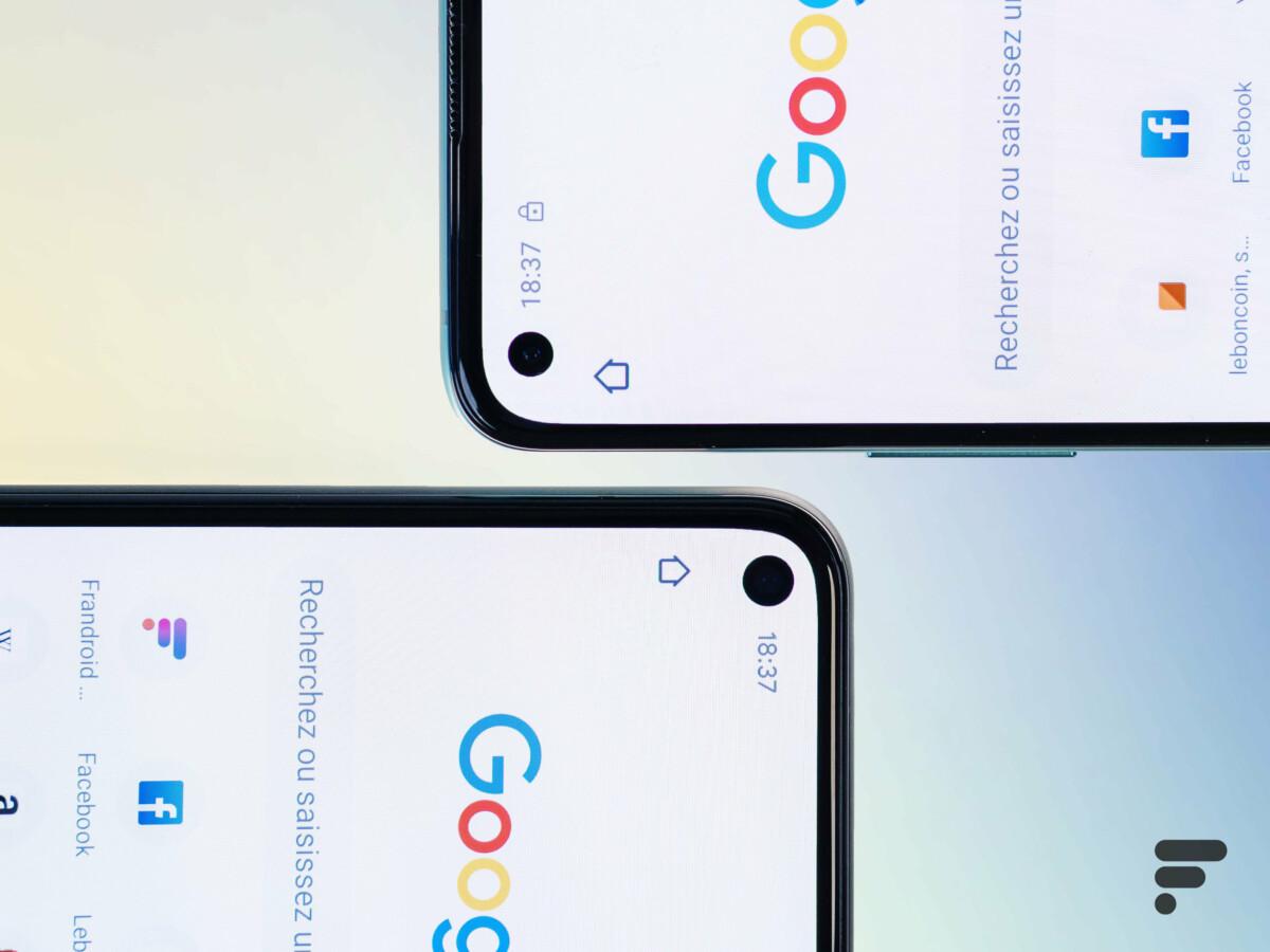 La bulle du Pixel 5 est légèrement plus grosse que celle du OnePlus 8T