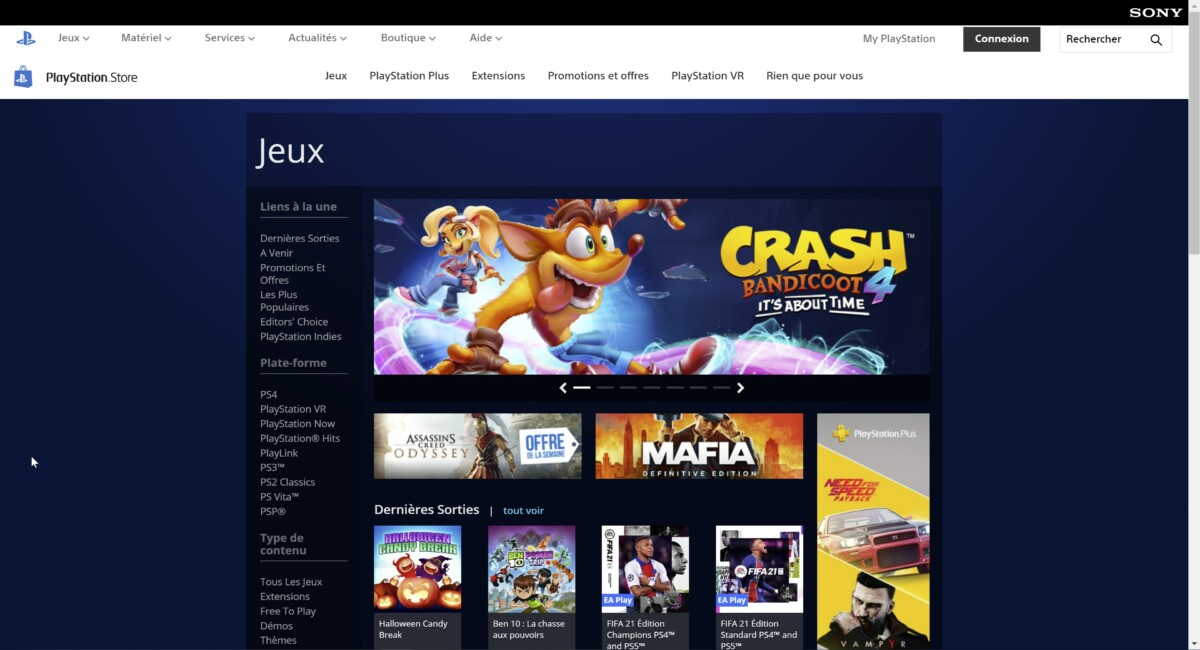 L'interface du PlayStation Store