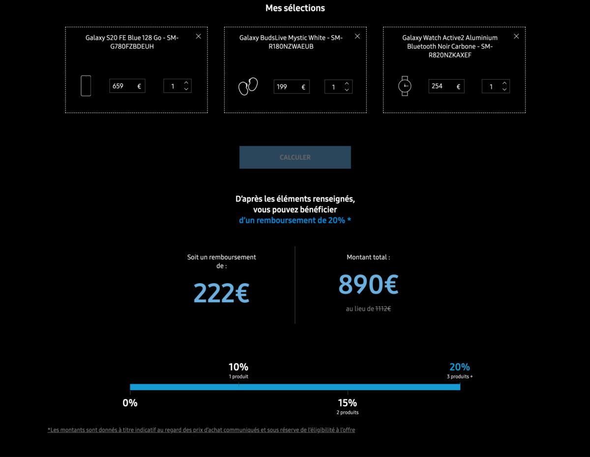 En cumulant l'achat d'un Samsung Galaxy S20 FE, d'écouteurs BudsLive et d'une Galaxy Watch Active 2, vous pouvez réaliser 222euros d'économies.