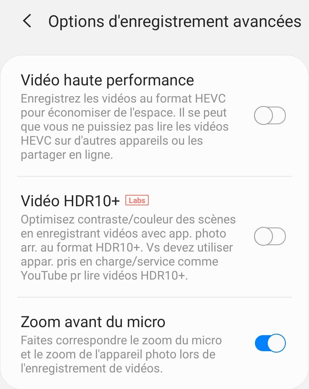 Le Galaxy S20 fait partie des rares smartphones à permettre de prendre des vidéos en HDR10+.
