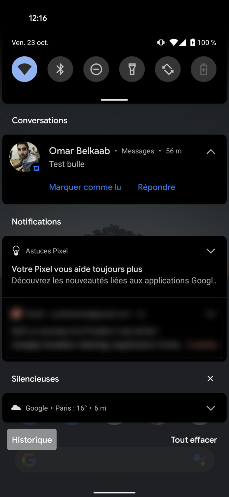 Historique des notifications Android 11