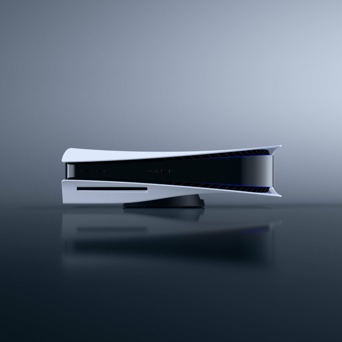PlayStation 5 game console in horizontal position