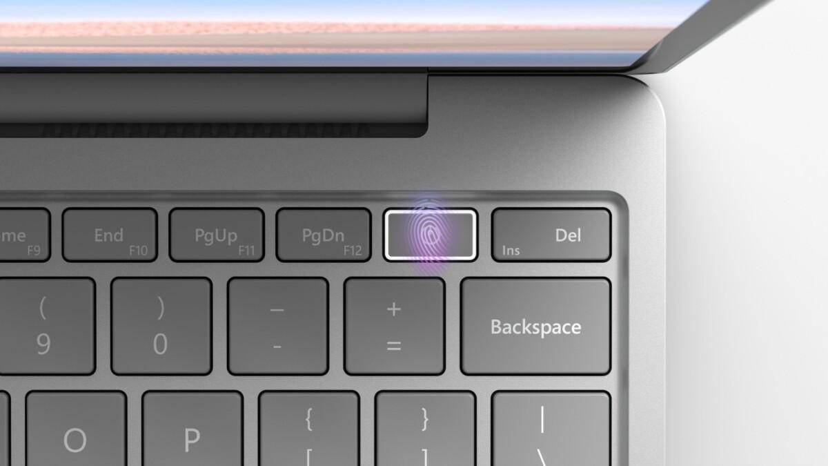 Le lecteur d'empreinte sur le Surface Laptop Go