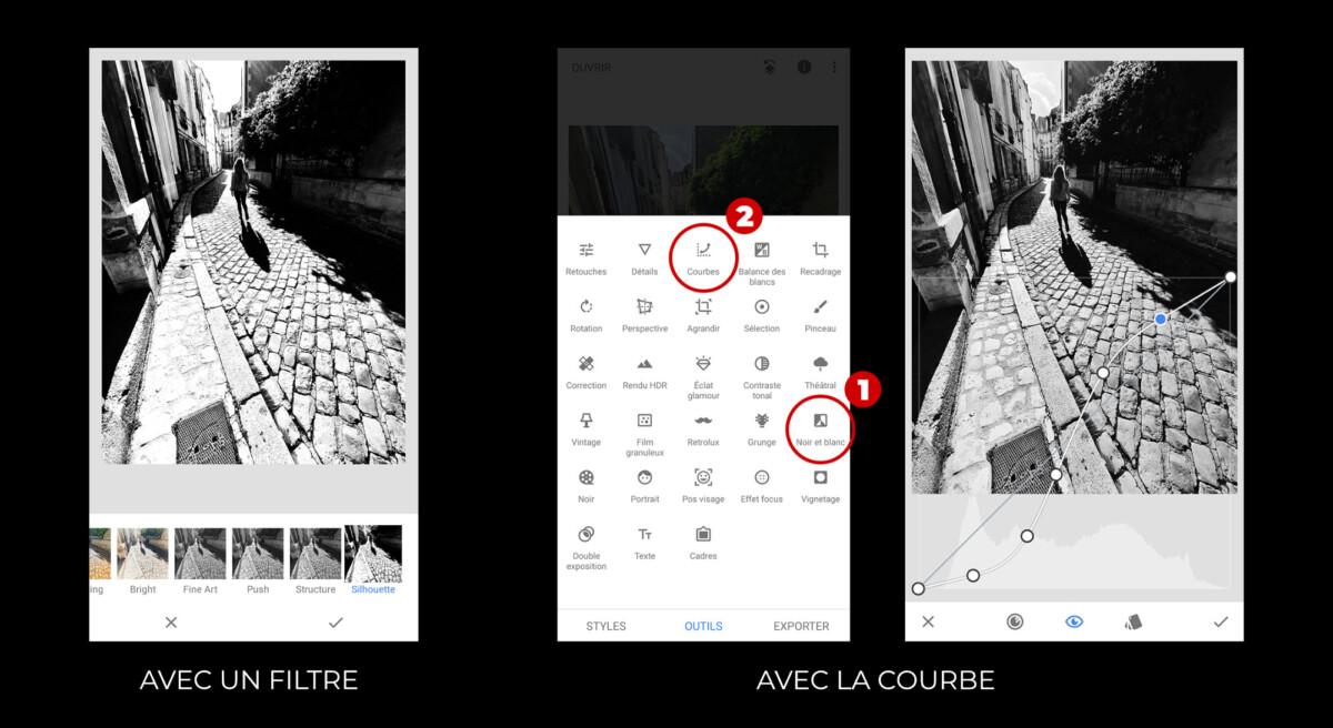 Snapseed, l'application de retouche utilisée ici propose un très bon filtre en noir et blanc.
