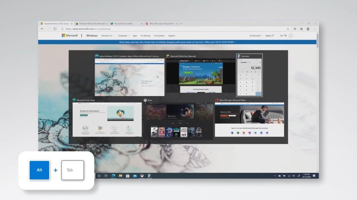 Le nouveau menu alt + tab // Source: Microsoft