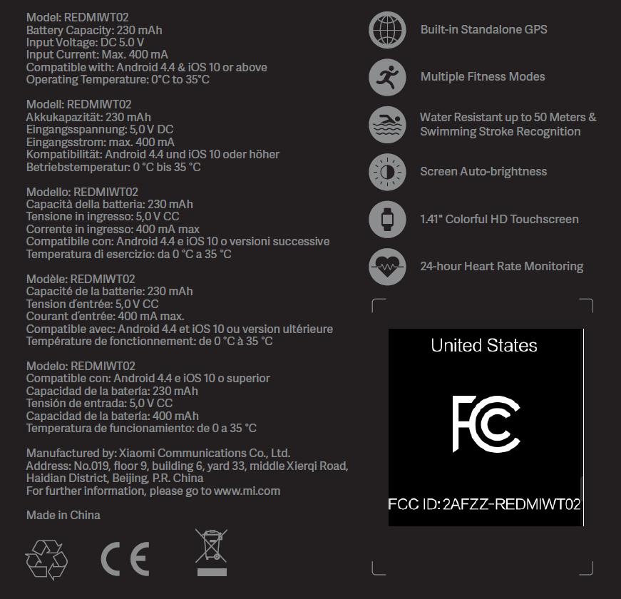 Caractéristiques Xiaomi Mi Watch Lite