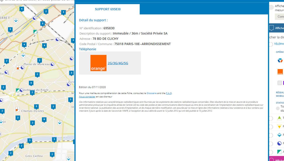 Exemple d'antenne 5G à Paris