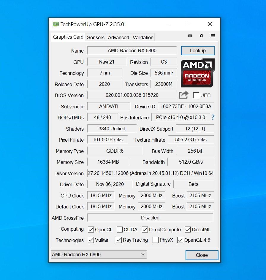 Les caractéristiques précises de notre GPU du jour