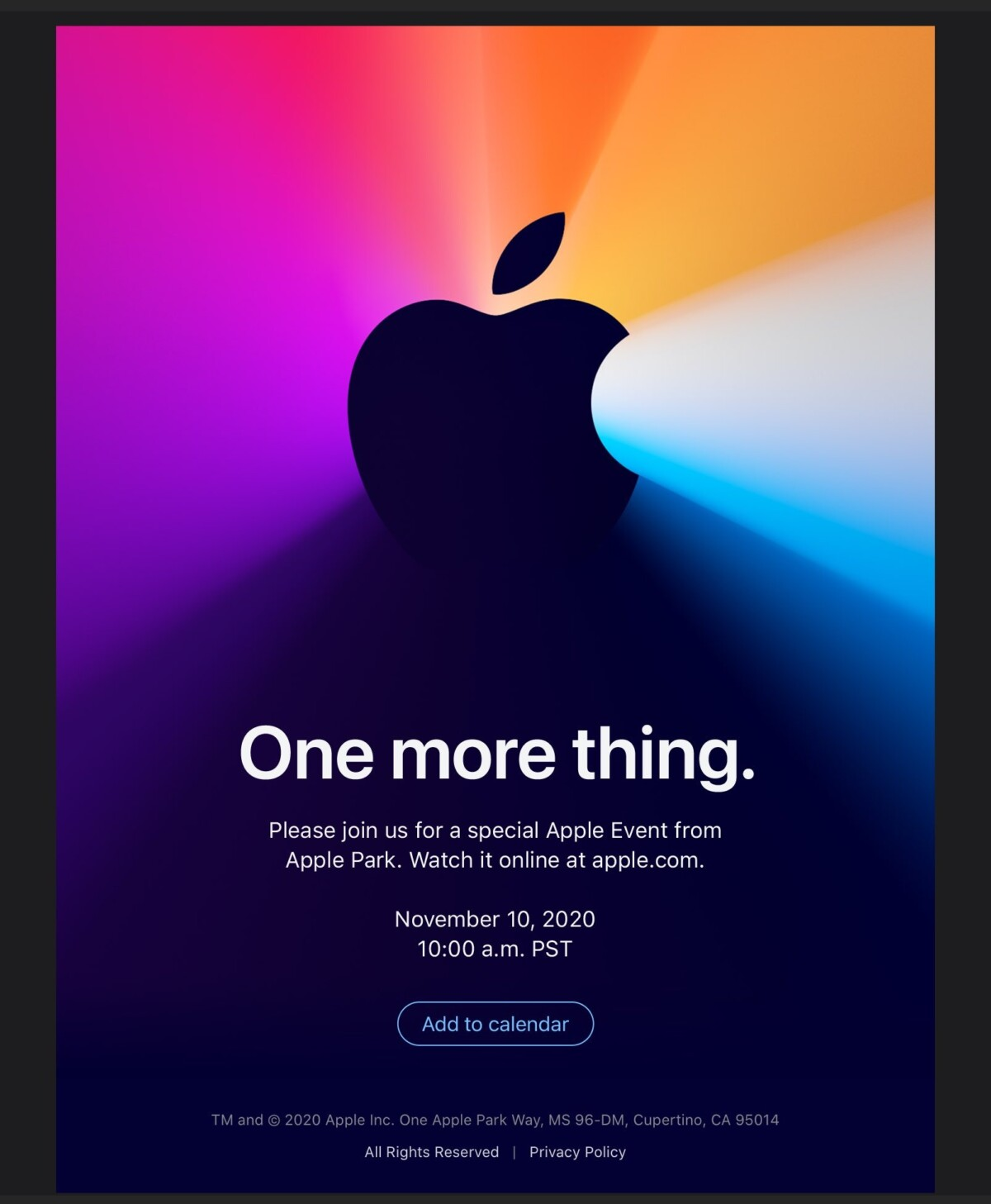 Invitation Apple One More Thing