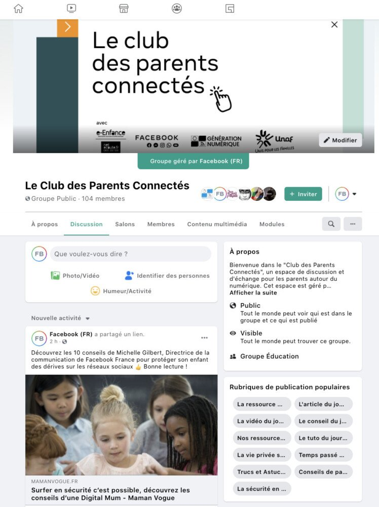 The Connected Parents Club page