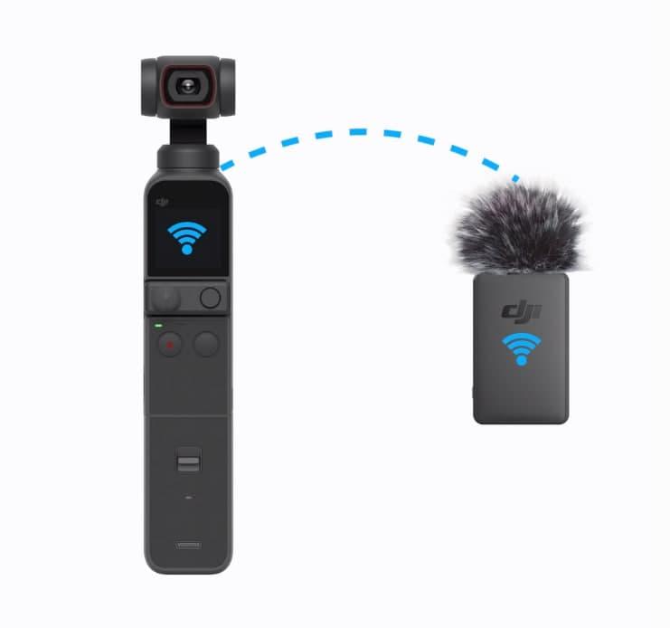 Le module micro (avec sa bonnette anti-vent) se connecte à la caméra grâce à la poignée multi-usage