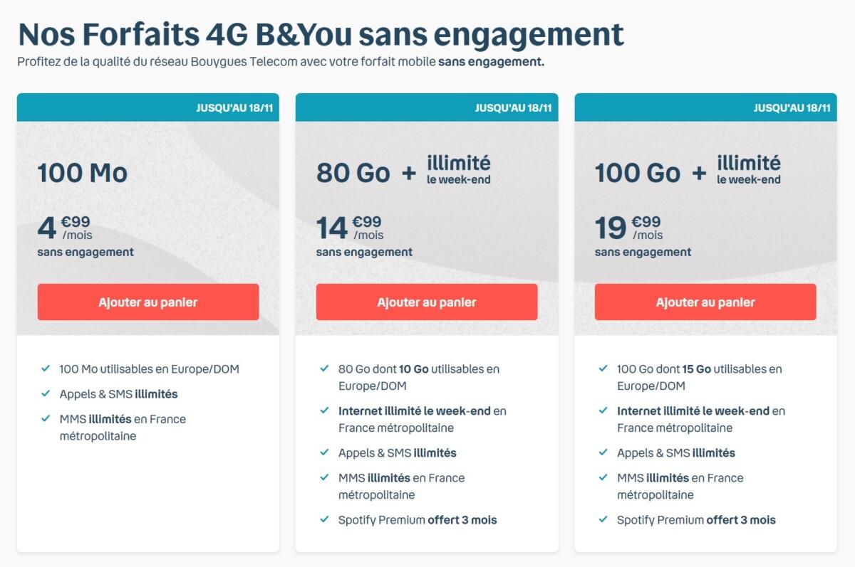 Bouygues Telecom rajoute Internet illimité le week-end à ses forfaits B&You