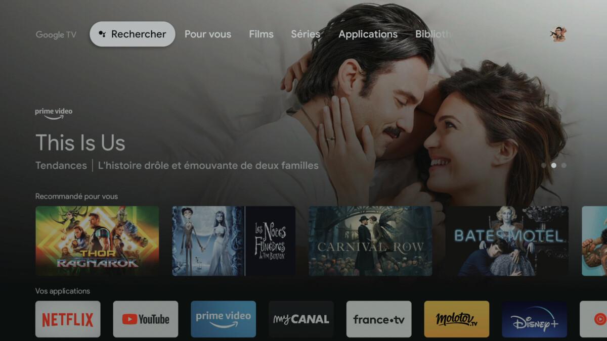 L'interface de Google TV