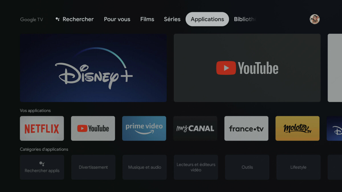 L'onglet Applications cache le Google Play Store