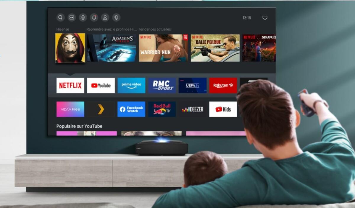 Le Laser TV 100L5F dispose d'une interface connectée, VIDAA, dans laquelle se trouvent les principales applications de divertissement: Netflix, YouTube, Prime Video ou encore RMC Sport.