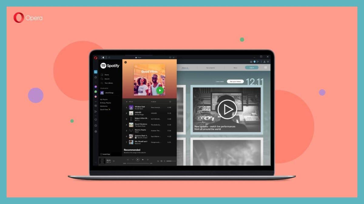 Spotify profite d'un lecteur dédié dans le navigateur Opera