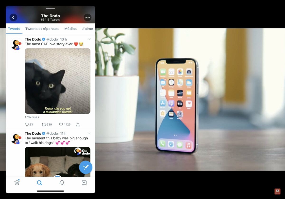 With Slide Over, you can watch a video on YouTube while visiting Twitter