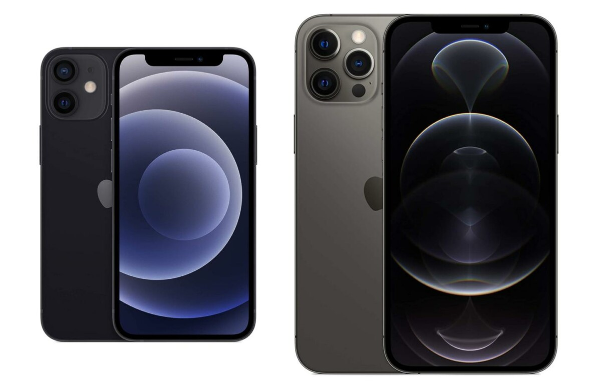 Illustration of iPhone 12 Mini and iPhone 12 Pro Max is not to scale.