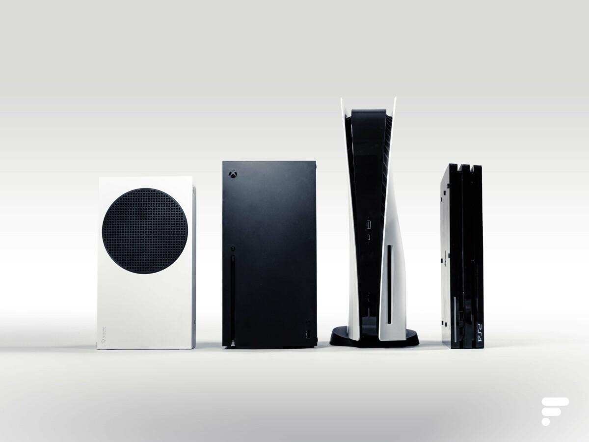 De gauche à droite : Xbox Series S, Xbox Series X, PS5, PS4 Pro