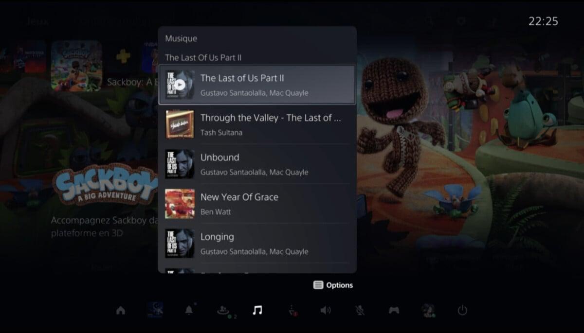 Une sélection musicale à disposition sur la PS5