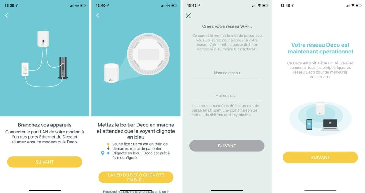 L'installation des Deco X60 et X90 se passent par une application mobile. Il ne faut que quelques minutes pour que la solution soit fonctionnelle.