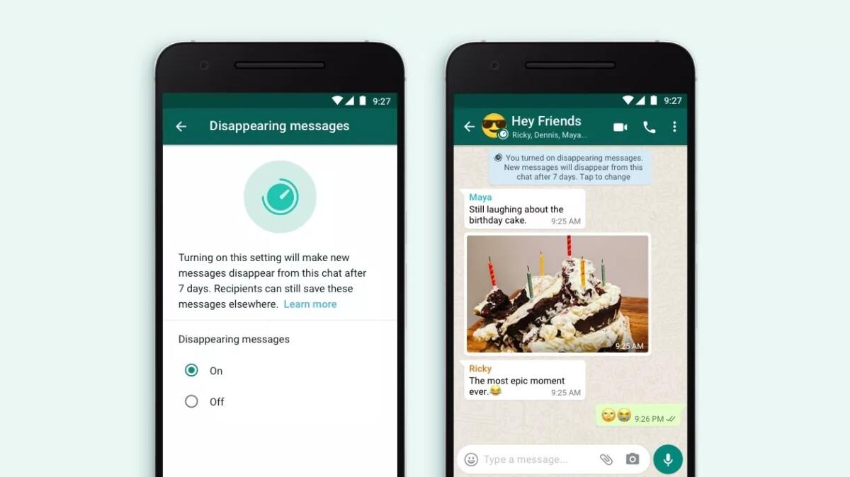 WhatsApp temporary message