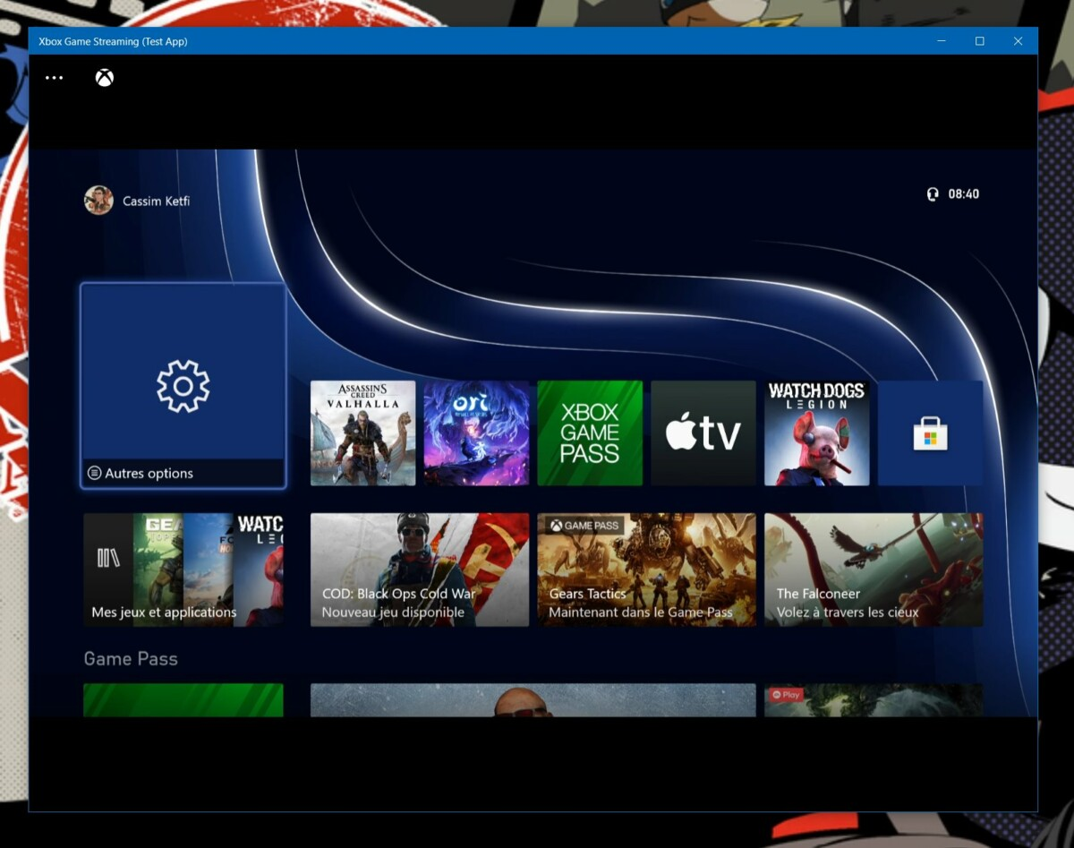 The Xbox Series X interface from Windows 10