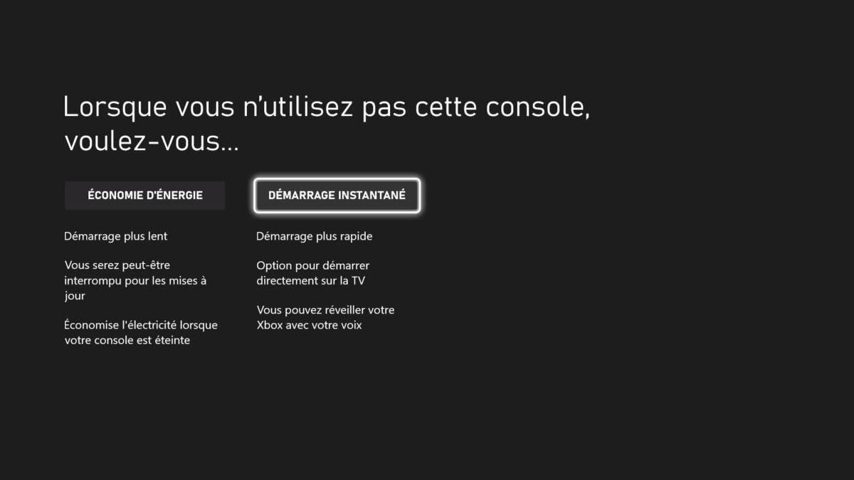 Les options d'alimentation sur Xbox