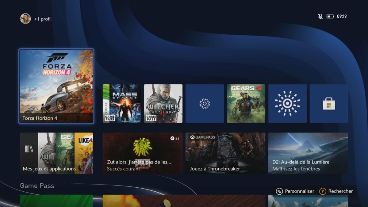 Le dashboard de la Xbox Series S