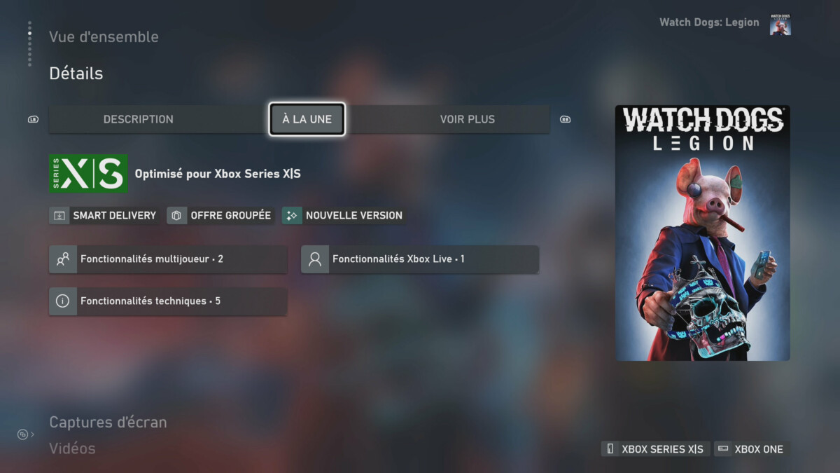 L'interface de la Xbox Series S permet de savoir de quelles optimisations et programmes bénéficient les jeux achetés.