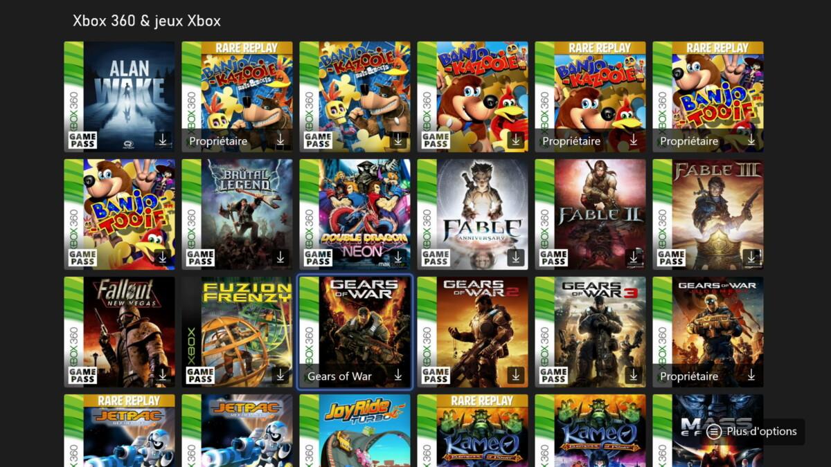 Les jeux Xbox, Xbox360 et Xbox One sont compatibles