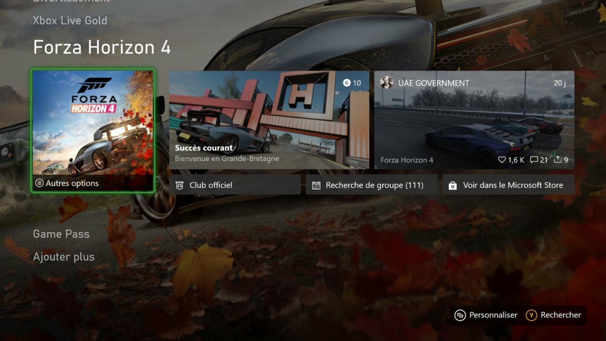 On peut personnaliser la partie basse de l'interface en fonction de ses jeux préférés